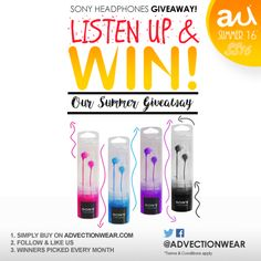 #Win on the Advection Wear #Summergiveaway a #Free pair of #Sony #Headphones