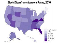Black Disenfranchisement Rates, 2010  Source: The Sentencing Project