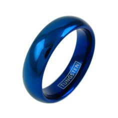 A brilliant cobalt blue tungsten ring in the classic dome design. Elegant and chic styling. For men and women. Perfect for couples. Wholesale tungsten rings and wedding bands. www.925express.com