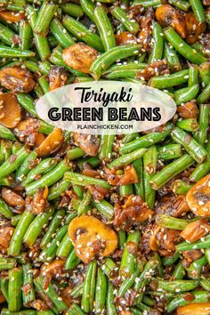 Teriyaki Green Beans - our favorite green bean recipe. SO delicious! Green beans, shallot, mushrooms, garlic, teriyaki sauce and sesame seeds. Ready to eat in about 15 minutes. Great weeknight side d Veggie Side Dishes, Vegetable Sides, Side Dishes Easy, Side Dish Recipes, Veggie Recipes, Food Dishes, Asian Recipes, Vegetarian Recipes, Cooking Recipes