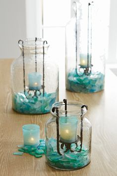 All the calming colors of the sea are mixed into Pier colorful glass combo. Which means you can use our Teal Seaglass Mix to create serene scenes and candlescapes. add flowers, navy runner and shells (starfish? Candle Lanterns, Candle Jars, Candle Holders, Candles, Boho Home, Calming Colors, Vase Fillers, Beach Crafts, Turquoise