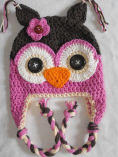 crochet owl hat, crochet kids hat, crochet baby hat, custom colors. $27.00, via Etsy.