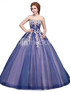Formal Evening Dress Ball Gown Strapless Floor-length Tulle with Appliques 2017 - $200.19