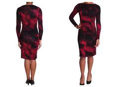 Vestido cómodo negro con rojo de Joseph Ribkoff ideal para eventos de noche casuales.