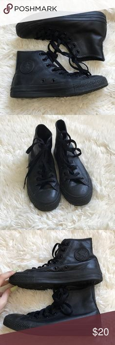 c7dbf5bee9f3 Black leather type chucks 🤙🏼 Worn a handful of times In great condition  still Super on trend Men s size 4 and a women s size 6 Converse Shoes  Sneakers