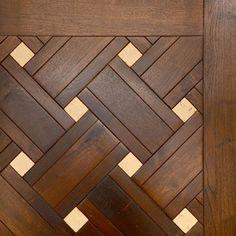 Walnut Beauvais Pattern with Stone Wood Floor Pattern, Wood Floor Design, Floor Patterns, Tile Design, Wood Parquet, Wooden Flooring, Kitchen Flooring, Main Door Design, Reclaimed Wood Wall Art