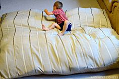How to make a DIY no sew crash mat for kids for cheap from And Next Comes L