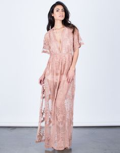 Floral Crochet Maxi Dress - Pink Blush Dress - Sheer Floral Lace Dress – 2020AVE