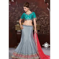 Are you looking to shop fashionable lehenga choli online? AngelNX Provided offer latest and exclusive party wear and designer lehenga choli. Buy this chanderi and velvet embroidered, patch border, resham and zari work a line lehenga choli. Blue Lehenga, Lehenga Style, Silk Lehenga, Sari, Anarkali, Indian Clothes Online, Indian Sarees Online, Lehenga Choli Online, Ghagra Choli