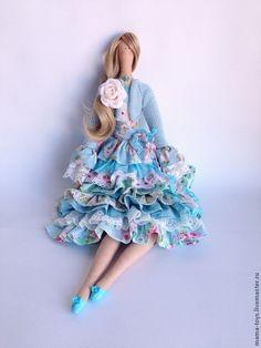 Купить Тильда в голубом - интерьерная кукла, коллекционная кукла, текстильная…
