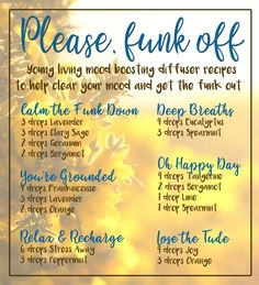 Young Living diffuser recipes for boosting your mood and getting the funk out. Young Essential Oils, Essential Oils Guide, Doterra Essential Oils, Essential Oil Combinations, Diffuser Recipes, Essential Oil Diffuser Blends, Young Living, Diffusers, Homeopathy
