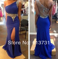 2014 New Fashion Mermaid Royal Blue Chiffon Long Prom Dresses One Shoulder Beaded Embellished Side Slit Evening Dress