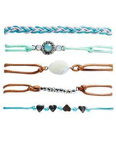 Multicolor Boho Friendship Bracelet Set of (5) @ WetSeal $10
