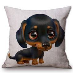 Dachshund Cute Cartoon Puppy Cushion Cover