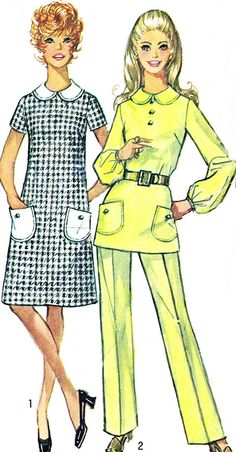 1970s Simplicity 9082 Mod Dress or Tunic and Pants by paneenjerez, $10.00