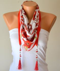 Cotton tringle yemeni scarf designed with naturel by bstyle, $22.00
