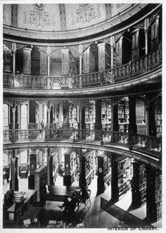 Interior of Bacon Library, 1901 at University of California, Berkeley. Library demolished in early 20th century.