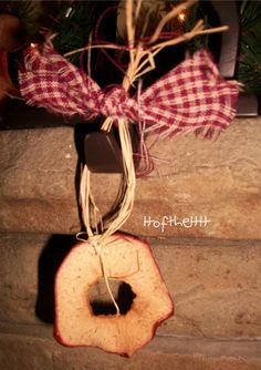 dried apple Christmas ornaments. Good for hanging on a tree that will be recycled outdoors for wildlife