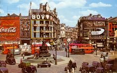 Piccadilly Circus, London by FarmGateVintage on Etsy Circus Photography, Street Photography, Circus Aesthetic, Aesthetic Art, 1950s Wallpaper, London Postcard, Piccadilly Circus, London Transport, World Cities