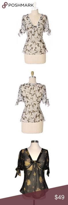 """RARE Odille 6 Anthro Pride of Augusta Floral Top RARE Odille Pride of Augusta Floral Sheer Top🔸Size 6🔸Blouse is brown and yellow color🔸Sheer silk chiffon🔸Blanketed with gardenias print🔸Floats into puff sleeves with trailing self-ties and gathered bust🔸Bust around 18""""🔸Length around 24""""🔸Pull over style🔸Rare Anthropolgie blouse!🔸Pre owned GREAT condition! Anthropologie Tops Blouses"""