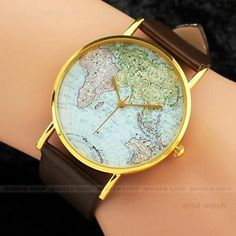 Globe map round dial black leather band wristwatch women men unisex brand new world map dial brown leather band quartz watch ebay gumiabroncs Gallery