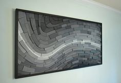 DUE TO POPULAR DEMAND - TURNAROUND TIMES ARE EXTENDED TO 3.5 MONTHS+ FOR THIS PIECE AND ALL CUSTOM ORDERS. Contact me for lead time if you have a certain date you need it by.   This piece is the second in my Geology series. Pay Streak is done fully in black, white and many shades of gray, it measures 48w X 24h, and has pieces of varying depths, giving it a very engaging feel as they flow along the curve. Your eye can move around this for a long time before stopping, and at this large size it…