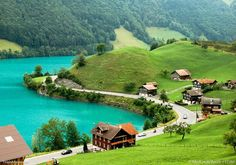 A village by lake Brienz during springtime, near Meiringen, Switzerland