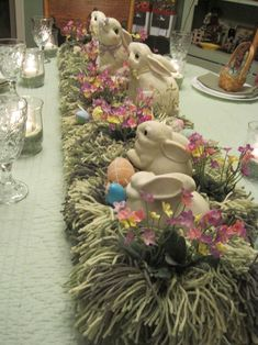 "Fun Easter Centerpiece with yarn ""grass"" nest."