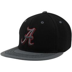 """Alabama Crimson Tide Confidential Black Fitted Hat: L/XL- 7 1/4""""-7 5/8"""" by Top of the World. $23.95. Flat Stitch Embroidered Secondary Back Logo. Officially Licensed Collegiate Product. 86Fitted Wool Cap. For the strong & silent type! This black wool hat features a high crown flat bill with grey toned 3D embroidery outlined in The aggressive contrast stitching and secondary team logo on the back shows off to perfection!"""