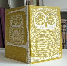 Owl linocut journal, recycled