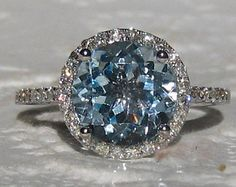 Aquamarine Engagement Ring White Gold Diamond Halo Engagement