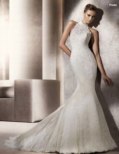 I sold this Pronovias to the most beautiful Bride!  Lace, turtleneck halter, mermaid