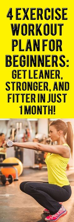 4 EXERCISE WORKOUT  PLAN FOR BEGINNERS: GET LEANER, STRONGER, AND FITTER IN JUST 1 MONTH