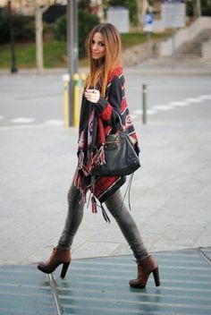 Winter boho, knitwear, hippie, style, fashion, outfit, Aztec, Tribal