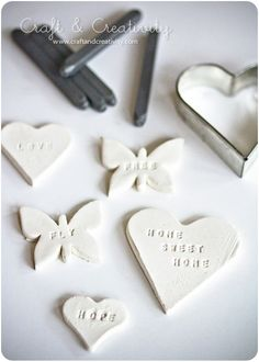 paper clay rolled, cookiecut, stamped