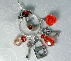 'Red and Silver Chatelaine Style Necklace' is going up for auction at  4pm Fri, Jul 6 with a starting bid of $10.