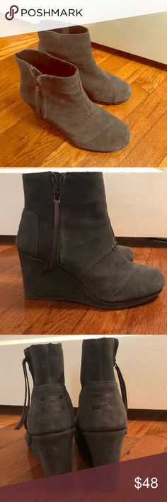 Toms Desert Wedge High Booties - Great Condition! Toms Desert Wedge High Booties - Great Condition! Dark grey suede. Only worn 2 or 3 times. Toms Shoes Ankle Boots & Booties