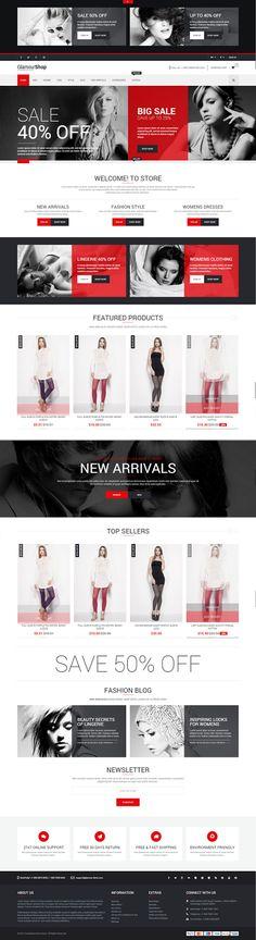 GlamourShop is Premium full Responsive PrestaShop Multipurpose eCommerce Theme. Bootstrap Test free demo at ThemeForest. Web E, Web Design Inspiration, Design Ideas, Mobile Responsive, Color Palate, Website Themes, Ui Ux Design, Mobile Design, Business Fashion