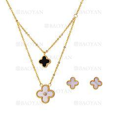juego collar y aretes de trebol concha negro y blanco en acero dorado inoxidable -SSNEG1093707