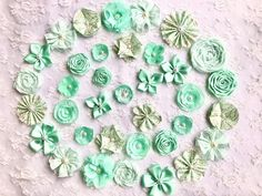 Handmade Mint Flowers/Handmade Embellishments/Shabby   Etsy Holiday Ornaments, Christmas Diy, Mint Flowers, Shabby Chic Crafts, Mint Color, Baby Scrapbook, Pretty And Cute, Bridal Hair Accessories, Card Tags