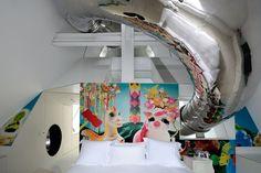 kid slide in  Skyhouse by David Hotson Architect (via HomeDSGN 2013-03-15)