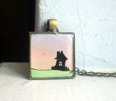 House Silhouette Sunset Pendant Original Watercolor by LaRueStudio, $28.00