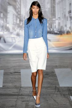 """Light weight washed denim has been a trend in the collections this week"" - Colleen Sherin"