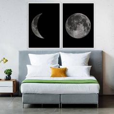 Moon Print Set Moon Phases Poster Large Moon Print Full