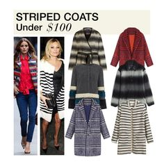 """""""Under $100: Striped Coats"""" by polyvore-editorial ❤ liked on Polyvore featuring WithChic, Madewell, Pied a Terre, women's clothing, women's fashion, women, female, woman, misses and juniors"""