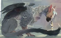 The Last Guardian - Trico and boy Fantasy Beasts, Fantasy Art, Fantasy Creatures, Mythical Creatures, Shadow Of The Colossus, Fan Art, Video Game Art, Creature Design, Furry Art