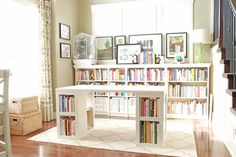 ikea office desk...and bookshelves..I WANT IT!!!!!!! It's a perfect personal library:)