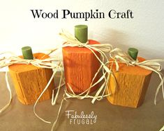 Decorate your front porch or fireplace mantle with this easy and simple Wood Pumpkin Craft. It's a fun decoration you can keep out through all of the autumn season!