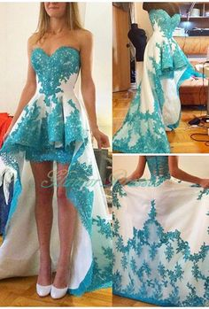 Turquoise Two Toned High Low Short Prom Dresses