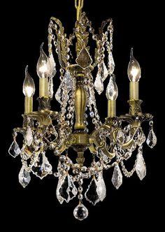 Rosalia Clear Crystal Chandelier w 4 Lights in Antique Bronze - http://chandelierspot.com/rosalia-clear-crystal-chandelier-w-4-lights-in-antique-bronze-538384661/